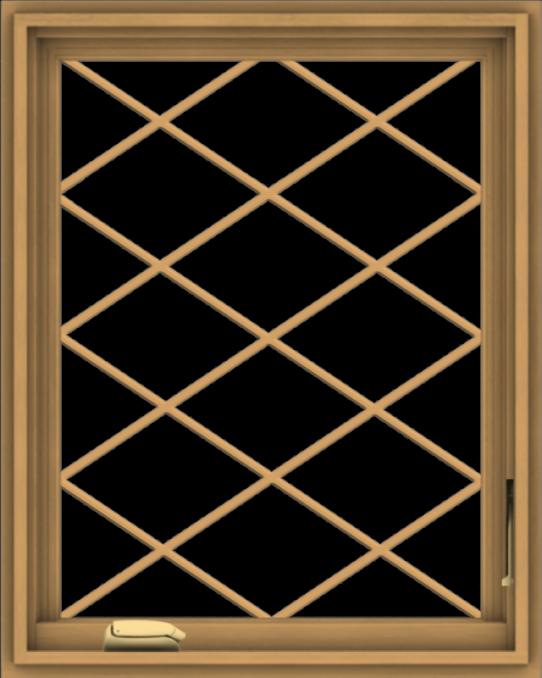 WDMA 24x30 (23.5 x 29.5 inch) Pine Wood Dark Grey Aluminum Crank out Casement Window  with Diamond Grills