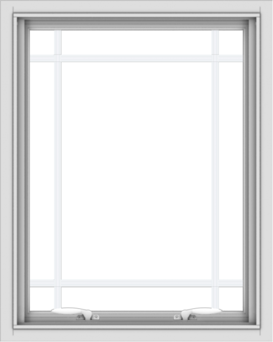WDMA 24x30 (23.5 x 29.5 inch) White uPVC Vinyl Push out Awning Window with Prairie Grilles
