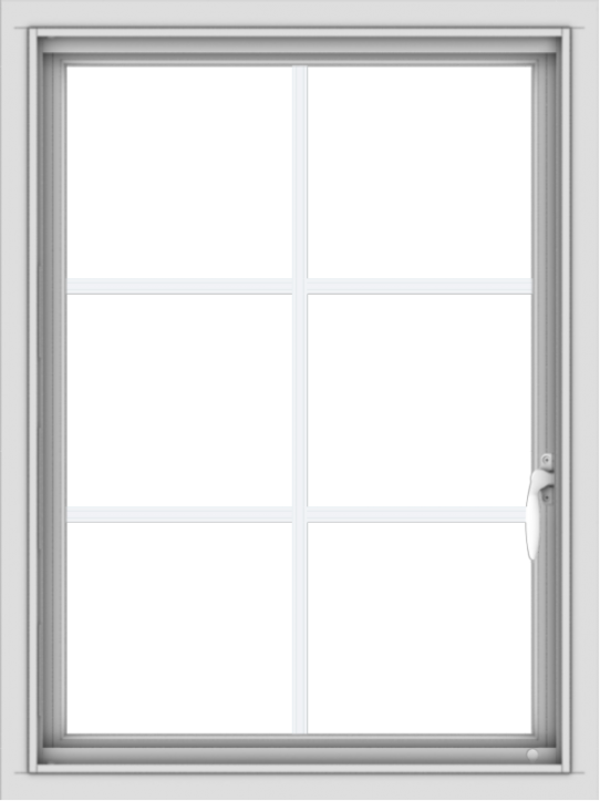 WDMA 24x32 (23.5 x 31.5 inch) Vinyl uPVC White Push out Casement Window with Colonial Grids