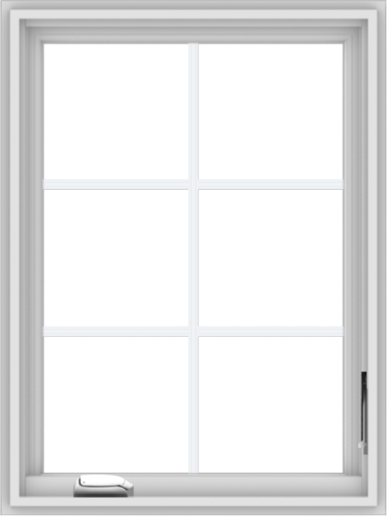 WDMA 24x32 (23.5 x 31.5 inch) White Vinyl uPVC Crank out Casement Window with Colonial Grids