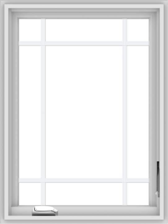 WDMA 24x32 (23.5 x 31.5 inch) White Vinyl uPVC Crank out Casement Window with Prairie Grilles