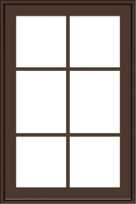 WDMA 24x36 (23.5 x 35.5 inch) Oak Wood Dark Brown Bronze Aluminum Crank out Awning Window with Colonial Grids Exterior