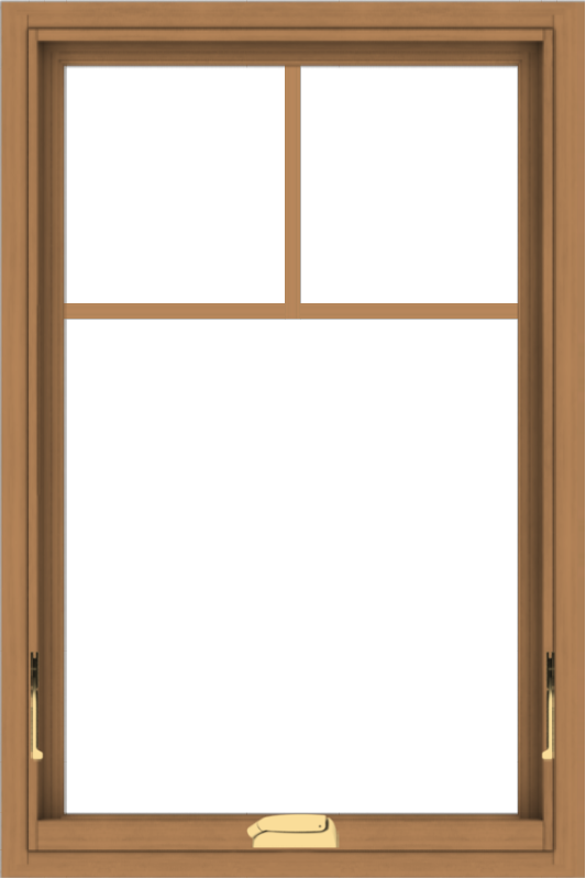 WDMA 24x36 (23.5 x 35.5 inch) Oak Wood Dark Brown Bronze Aluminum Crank out Awning Window with Fractional Grilles