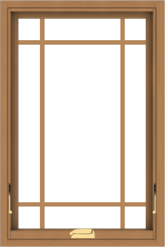 WDMA 24x36 (23.5 x 35.5 inch) Oak Wood Dark Brown Bronze Aluminum Crank out Awning Window with Prairie Grilles