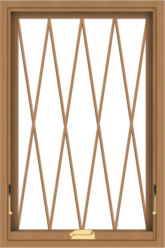 WDMA 24x36 (23.5 x 35.5 inch) Oak Wood Dark Brown Bronze Aluminum Crank out Awning Window without Grids with Diamond Grills