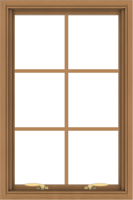 WDMA 24x36 (23.5 x 35.5 inch) Oak Wood Green Aluminum Push out Awning Window with Colonial Grids Interior