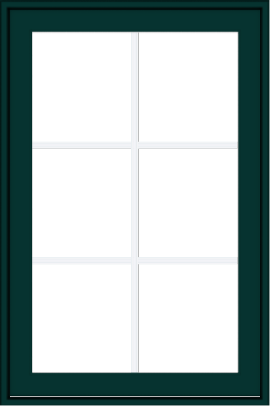 WDMA 24x36 (23.5 x 35.5 inch) Oak Wood Green Aluminum Push out Awning Window with Colonial Grids Exterior