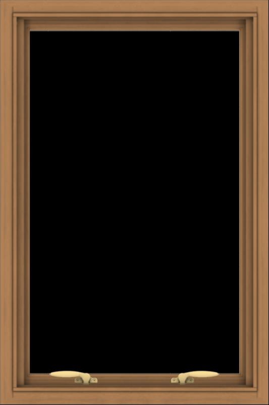WDMA 24x36 (23.5 x 35.5 inch) Oak Wood Green Aluminum Push out Awning Window without Grids
