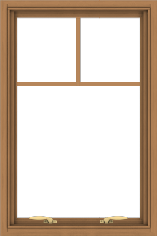 WDMA 24x36 (23.5 x 35.5 inch) Oak Wood Green Aluminum Push out Awning Window with Fractional Grilles