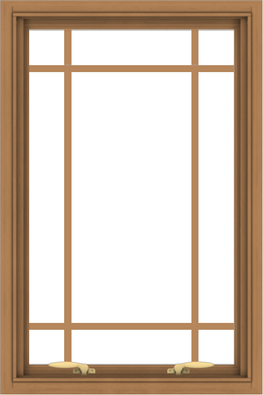 WDMA 24x36 (23.5 x 35.5 inch) Oak Wood Green Aluminum Push out Awning Window with Prairie Grilles