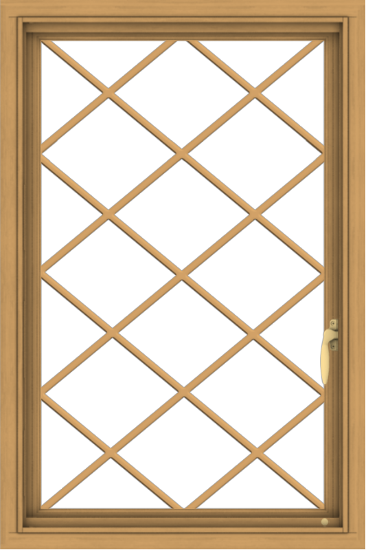 WDMA 24x36 (23.5 x 35.5 inch) Pine Wood Light Grey Aluminum Push out Casement Window  with Diamond Grills