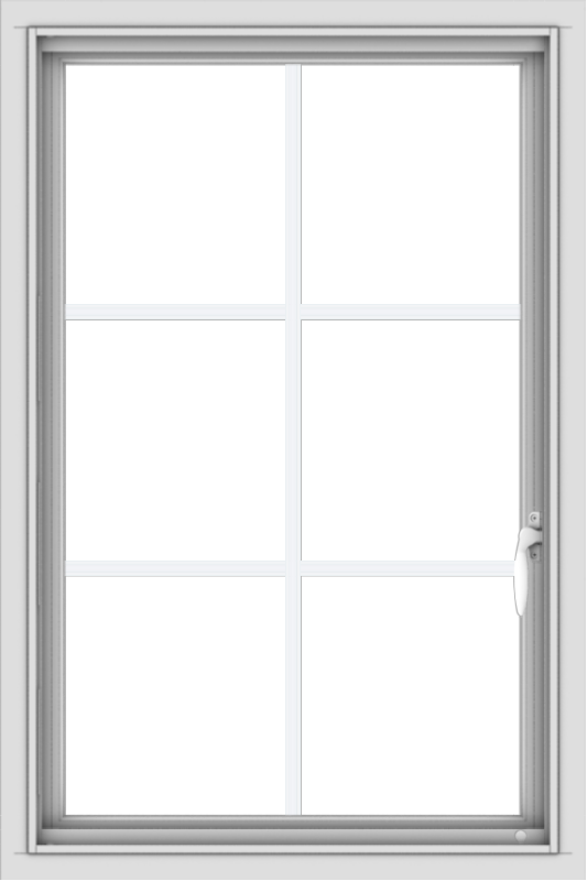 WDMA 24x36 (23.5 x 35.5 inch) Vinyl uPVC White Push out Casement Window with Colonial Grids