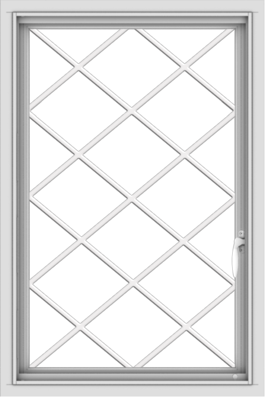 WDMA 24x36 (23.5 x 35.5 inch) Vinyl uPVC White Push out Casement Window  with Diamond Grills