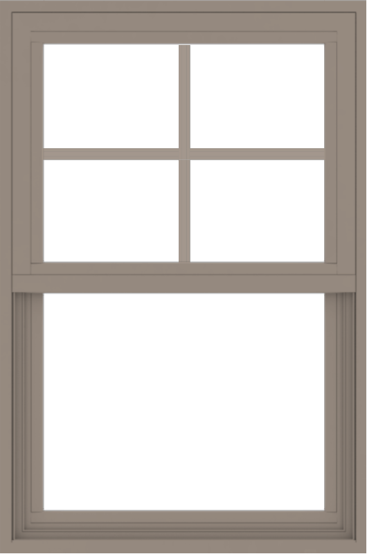 WDMA 24x36 (23.5 x 35.5 inch) Vinyl uPVC Brown Single Hung Double Hung Window with Top Colonial Grids Exterior
