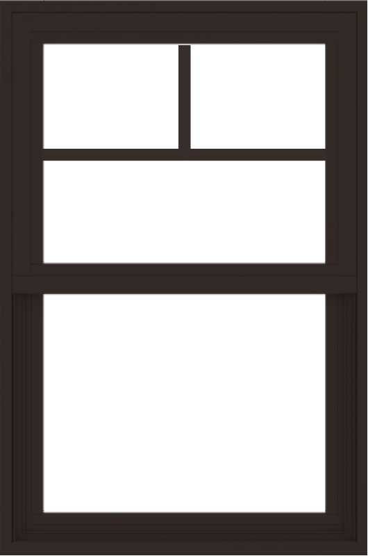 WDMA 24x36 (23.5 x 35.5 inch) Vinyl uPVC Dark Brown Single Hung Double Hung Window with Fractional Grids Interior