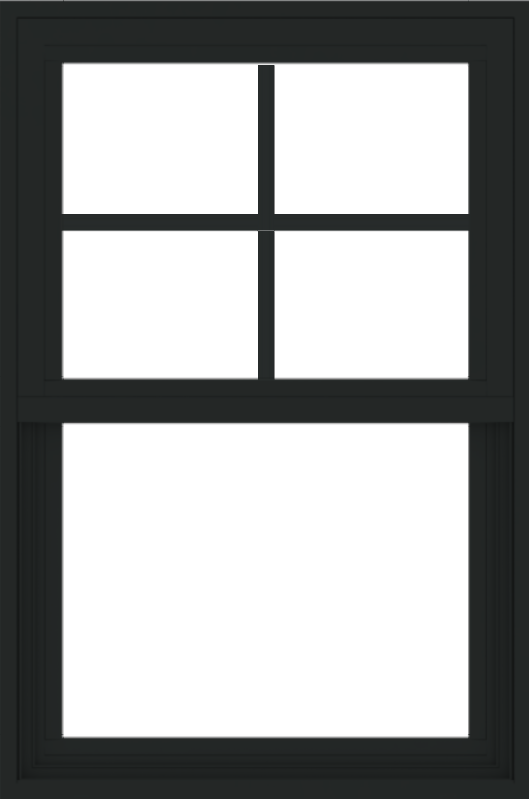 WDMA 24x36 (23.5 x 35.5 inch) Vinyl uPVC Black Single Hung Double Hung Window with Prairie Grids Interior
