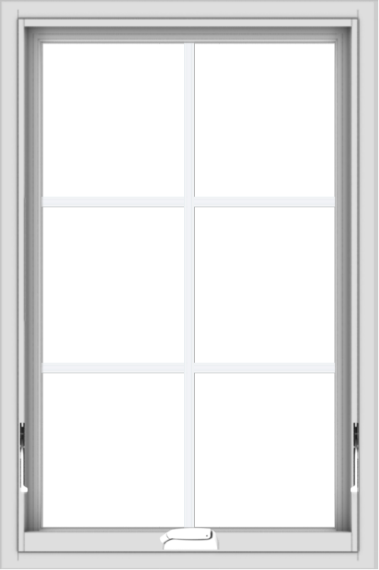 WDMA 24x36 (23.5 x 35.5 inch) White Vinyl uPVC Crank out Awning Window with Colonial Grids Interior