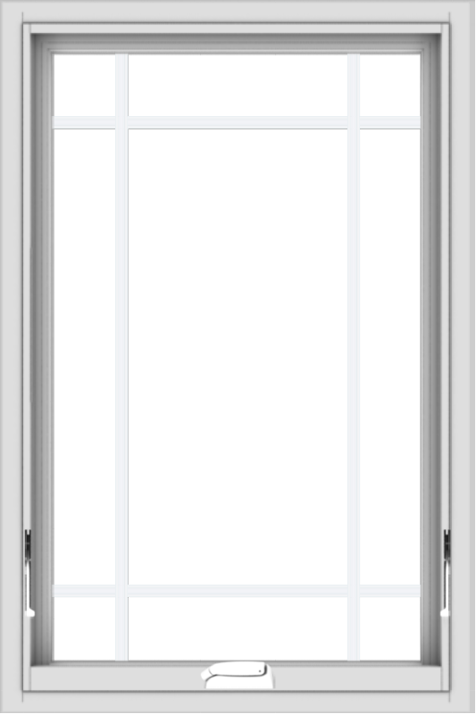 WDMA 24x36 (23.5 x 35.5 inch) White Vinyl uPVC Crank out Awning Window with Prairie Grilles