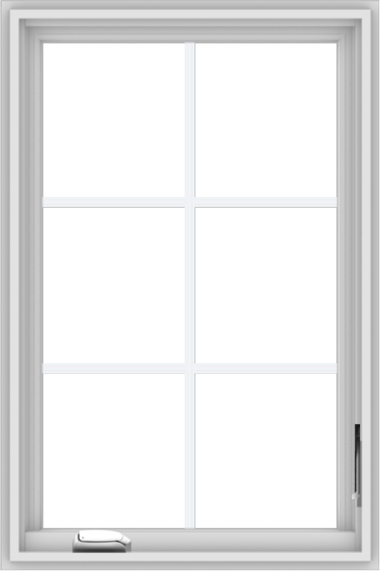 WDMA 24x36 (23.5 x 35.5 inch) White Vinyl uPVC Crank out Casement Window with Colonial Grids