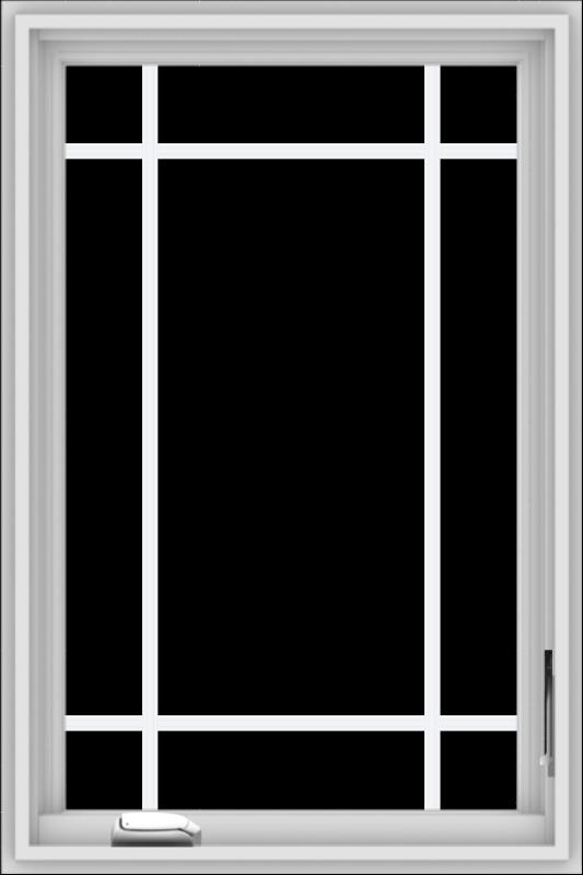 WDMA 24x36 (23.5 x 35.5 inch) White Vinyl uPVC Crank out Casement Window with Prairie Grilles