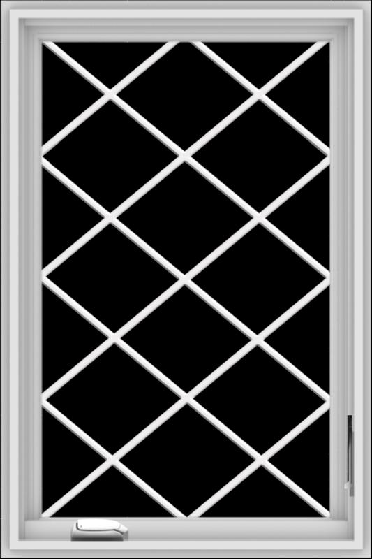 WDMA 24x36 (23.5 x 35.5 inch) White Vinyl uPVC Crank out Casement Window  with Diamond Grills