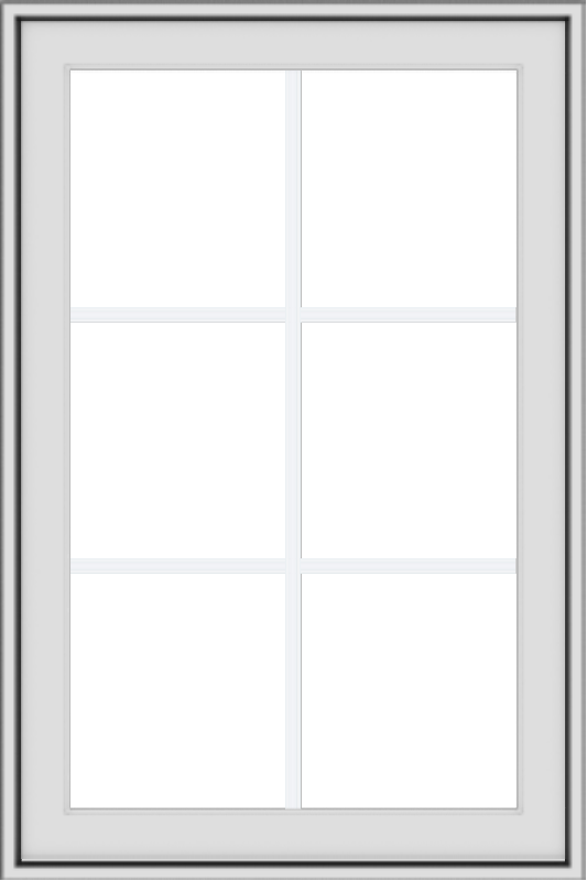 WDMA 24x36 (23.5 x 35.5 inch) White uPVC Vinyl Push out Awning Window with Colonial Grids Exterior
