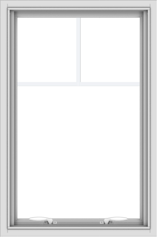 WDMA 24x36 (23.5 x 35.5 inch) White uPVC Vinyl Push out Awning Window with Fractional Grilles
