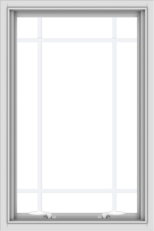 WDMA 24x36 (23.5 x 35.5 inch) White uPVC Vinyl Push out Awning Window with Prairie Grilles