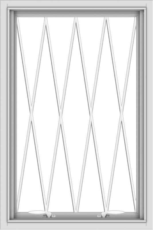 WDMA 24x36 (23.5 x 35.5 inch) White uPVC Vinyl Push out Awning Window without Grids with Diamond Grills