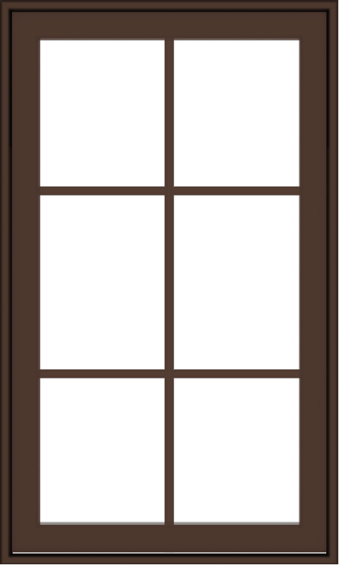 WDMA 24x40 (23.5 x 39.5 inch) Oak Wood Dark Brown Bronze Aluminum Crank out Awning Window with Colonial Grids Exterior