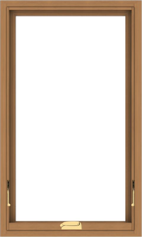 WDMA 24x40 (23.5 x 39.5 inch) Oak Wood Dark Brown Bronze Aluminum Crank out Awning Window without Grids