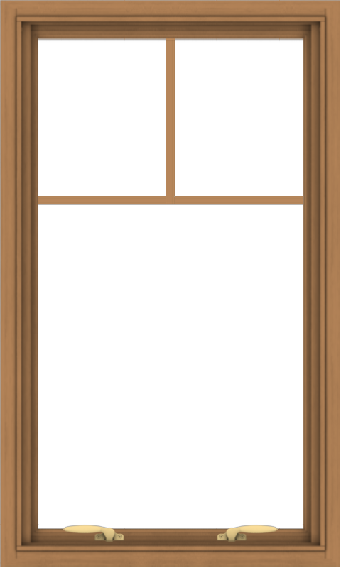 WDMA 24x40 (23.5 x 39.5 inch) Oak Wood Green Aluminum Push out Awning Window with Fractional Grilles