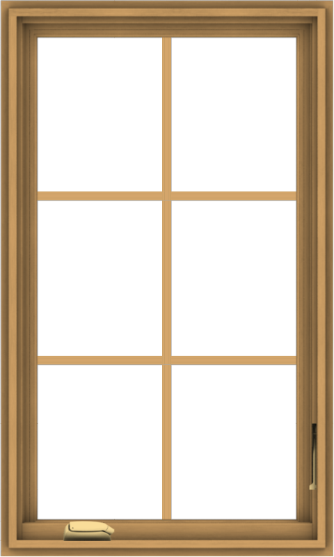 WDMA 24x40 (23.5 x 39.5 inch) Pine Wood Dark Grey Aluminum Crank out Casement Window with Colonial Grids