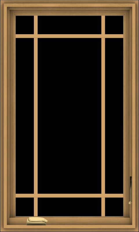 WDMA 24x40 (23.5 x 39.5 inch) Pine Wood Dark Grey Aluminum Crank out Casement Window with Prairie Grilles