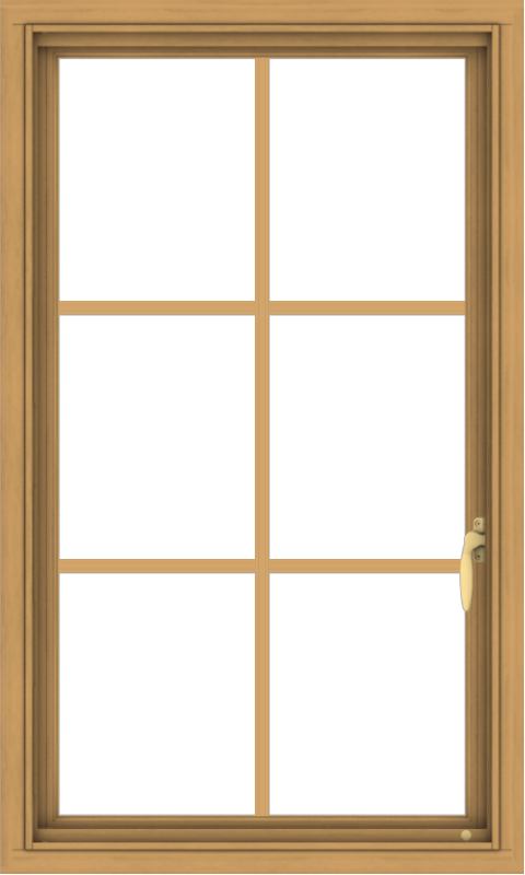 WDMA 24x40 (23.5 x 39.5 inch) Pine Wood Light Grey Aluminum Push out Casement Window with Colonial Grids