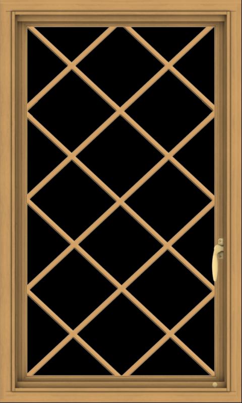 WDMA 24x40 (23.5 x 39.5 inch) Pine Wood Light Grey Aluminum Push out Casement Window  with Diamond Grills