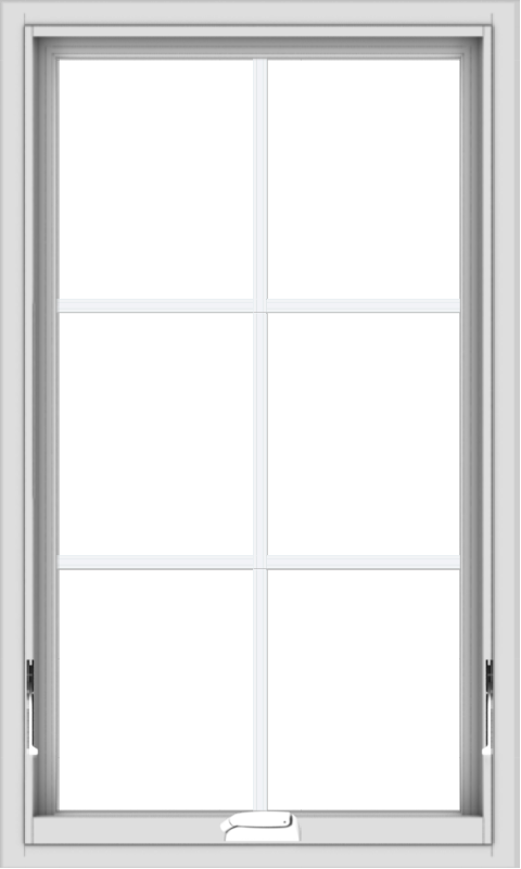 WDMA 24x40 (23.5 x 39.5 inch) White Vinyl uPVC Crank out Awning Window with Colonial Grids Interior