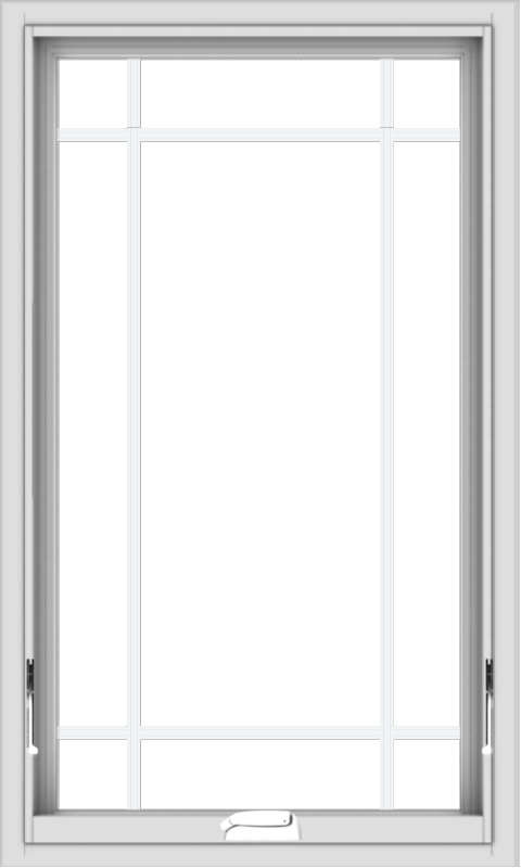 WDMA 24x40 (23.5 x 39.5 inch) White Vinyl uPVC Crank out Awning Window with Prairie Grilles