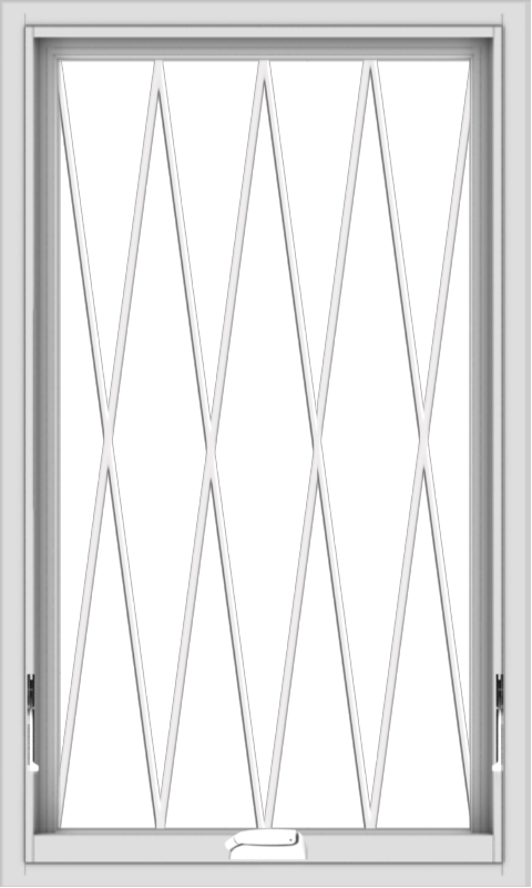 WDMA 24x40 (23.5 x 39.5 inch) White Vinyl uPVC Crank out Awning Window without Grids with Diamond Grills