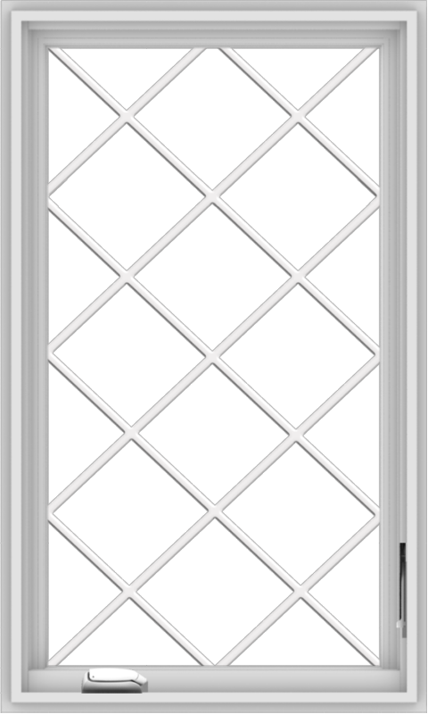 WDMA 24x40 (23.5 x 39.5 inch) White Vinyl uPVC Crank out Casement Window  with Diamond Grills