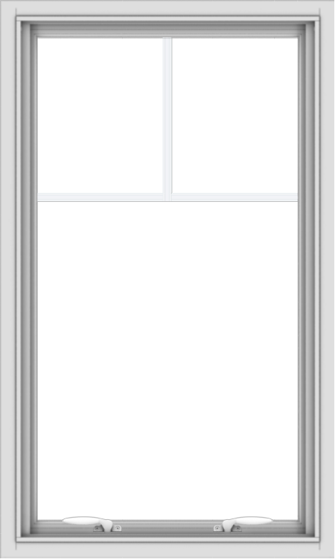 WDMA 24x40 (23.5 x 39.5 inch) White uPVC Vinyl Push out Awning Window with Fractional Grilles
