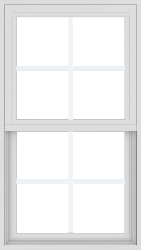 WDMA 24x42 (17.5 x 41.5 inch) Vinyl uPVC White Single Hung Double Hung Window with Colonial Grids Exterior