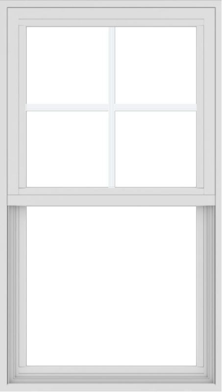 WDMA 24x42 (23.5 x 41.5 inch) Vinyl uPVC White Single Hung Double Hung Window with Top Colonial Grids Exterior