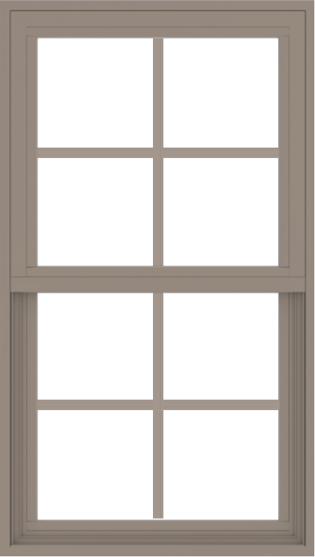WDMA 24x42 (23.5 x 41.5 inch) Vinyl uPVC Brown Single Hung Double Hung Window with Colonial Grids Exterior