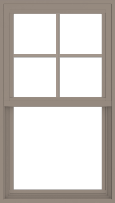 WDMA 24x42 (23.5 x 41.5 inch) Vinyl uPVC Brown Single Hung Double Hung Window with Top Colonial Grids Exterior