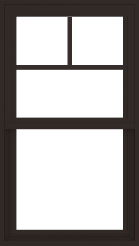 WDMA 24x42 (23.5 x 41.5 inch) Vinyl uPVC Dark Brown Single Hung Double Hung Window with Fractional Grids Interior