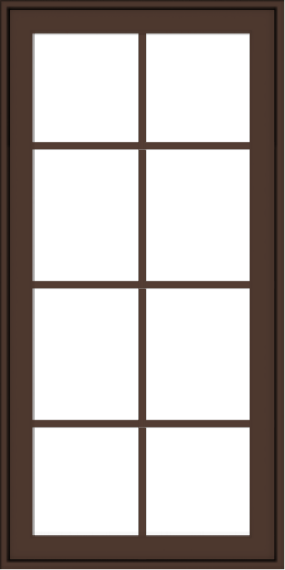 WDMA 24x48 (23.5 x 47.5 inch) Oak Wood Dark Brown Bronze Aluminum Crank out Awning Window with Colonial Grids Exterior