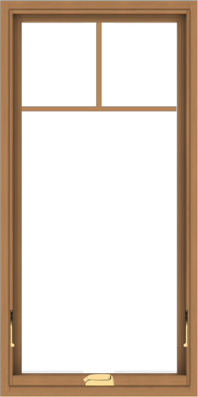 WDMA 24x48 (23.5 x 47.5 inch) Oak Wood Dark Brown Bronze Aluminum Crank out Awning Window with Fractional Grilles
