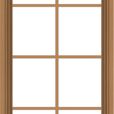 WDMA 24x48 (23.5 x 47.5 inch) Oak Wood Green Aluminum Push out Awning Window with Colonial Grids Interior