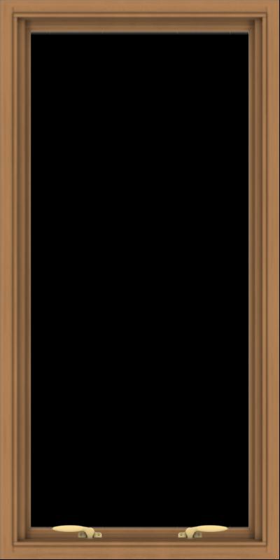 WDMA 24x48 (23.5 x 47.5 inch) Oak Wood Green Aluminum Push out Awning Window without Grids